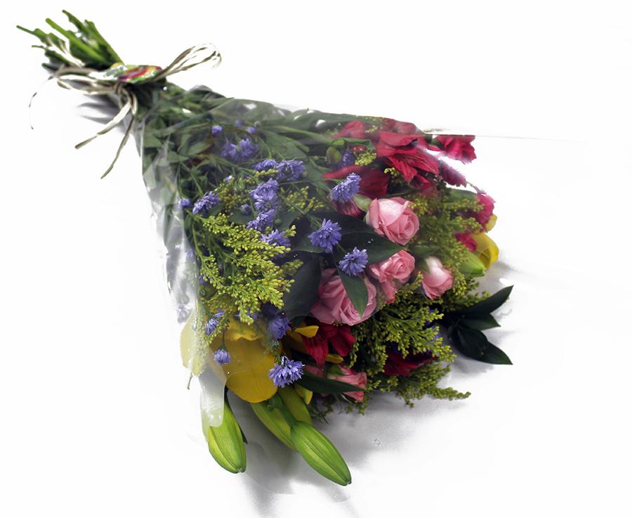Buquê Amorize Euforia - Buquê composto por 5 hastes de alstroemerias, 3 botões de rosas, 4 hastes de ruscus e 3 hastes de áster