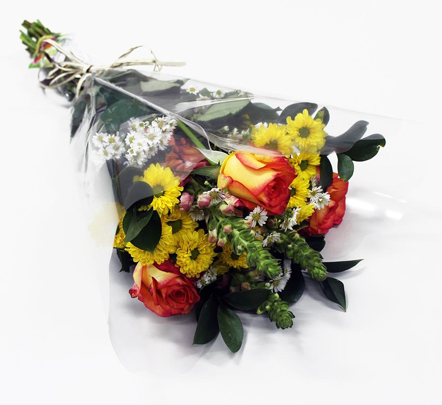 Buquê Amorize Memória - Buquê composto por 5 hastes de alstroemerias, 3 botões de rosas, 4 hastes de ruscus e 3 hastes de áster