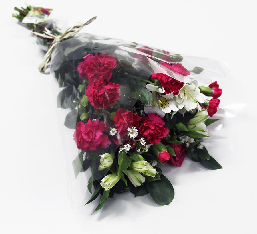 Buquê Amorize Ousadia - Buquê composto por 5 hastes de alstroemerias, 3 botões de rosas, 4 hastes de ruscus e 3 hastes de áster