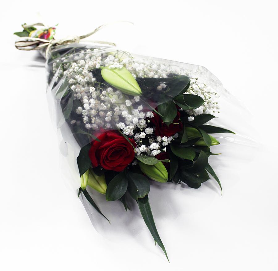 Buquê Amorize Sublime - Buquê composto por 5 hastes de alstroemerias, 3 botões de rosas, 4 hastes de ruscus e 3 hastes de áster