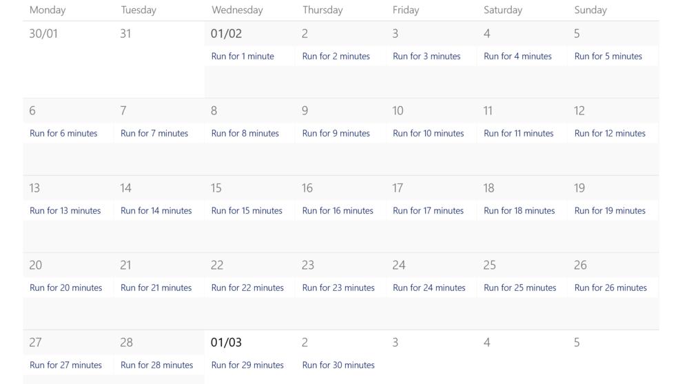 How to create habits - tiny habits - running calendar setup