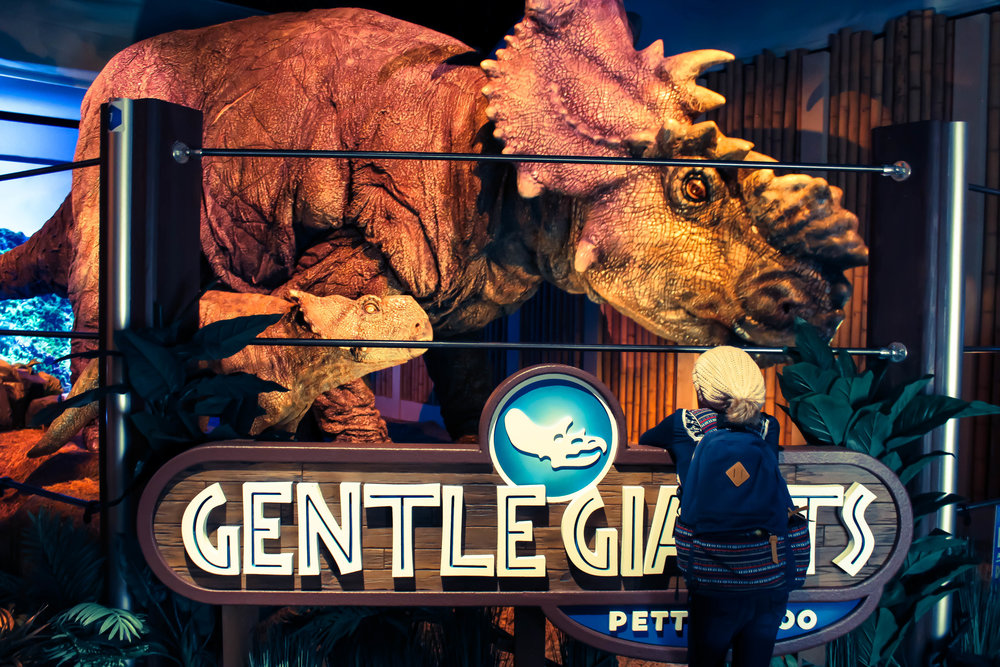 The Gentle Giants: A Pachyrhinosaurus & it's baby. Don't forget to dive your arm into the Dino Dung! It's warm, sticky, and inviting!