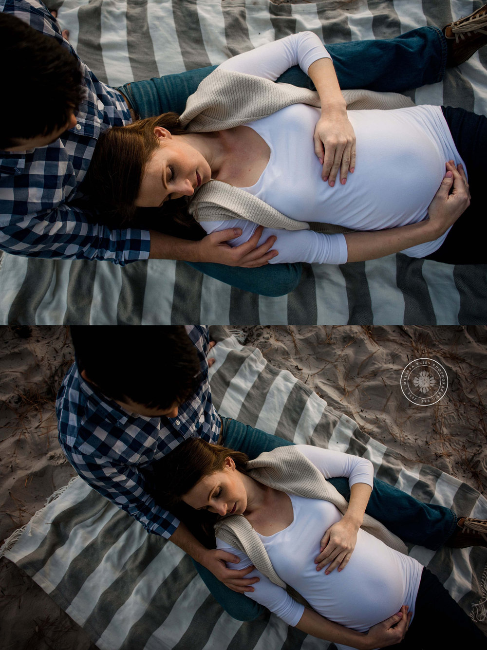 pregnant-mom-and-dad-laying-on-beach-virginia-beach-photographers