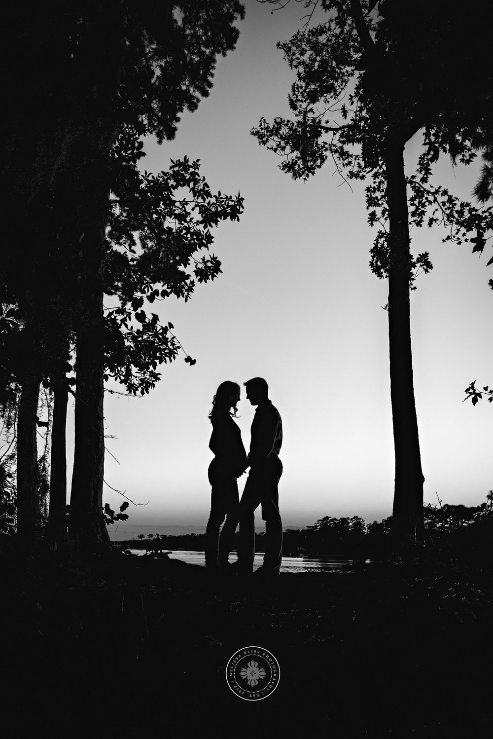 black-and-white-maternity-session-silhouette-of-couple-in-trees-va-beach-photographer