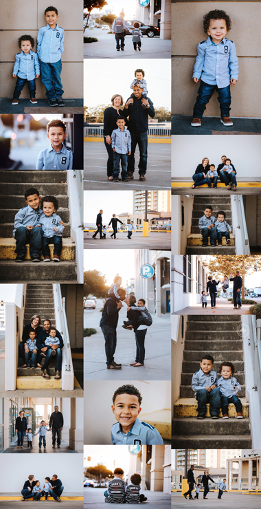 family-session-inspiration-urban-virginia-beach-photo-shoot-family-of-four-blue-and-yellow-wardrobe-lifestyle-photography-ideas