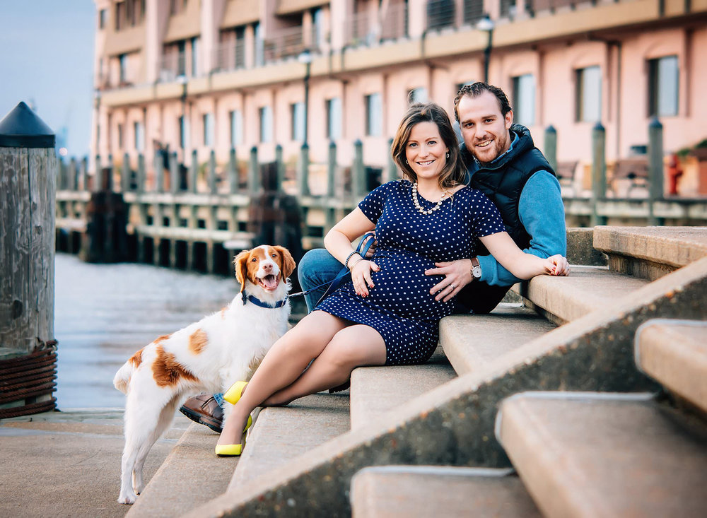 freemason-district-waterside-maternity-session-photos-by-melissa-bliss-photography-couple-with-spaniel.jpg