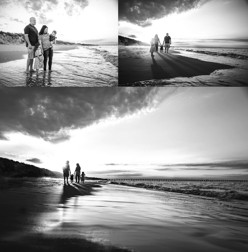 black-and-white-beach-photography-family-of-4-walks-chick's-beach-virginia-beach-photographer-melissa-bliss-photography.jpg