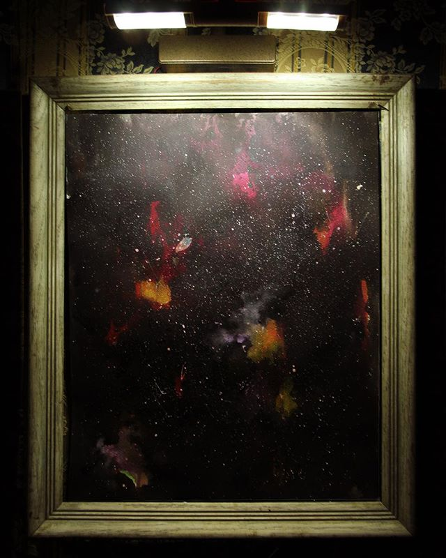 #tbt galaxy painting-Imagined Universes by @rebecca_scheckman at #WeDreamtheFuture at #GoodTimesatTheMist Last day to sign up for tomorrow's Deep Listening-cocktail lounge session! Featuring DJ @evansonearth  Link in bio to reserve your spot.