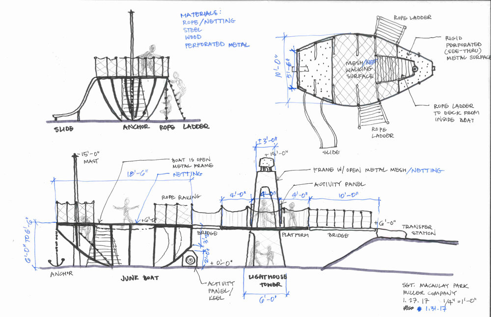 Preliminary sketch of custom play structures.