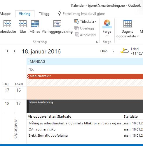 Oppgaver i kalenderen