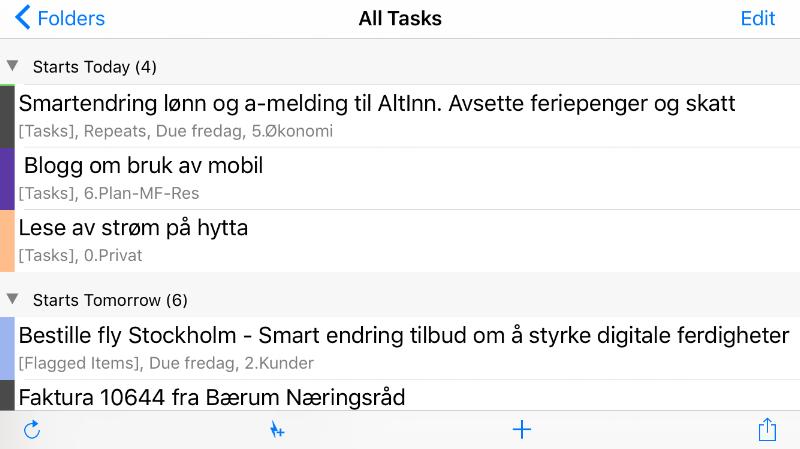 TaskTask app på iPhone støtter kategorier (fargene i margen) og flagget epost