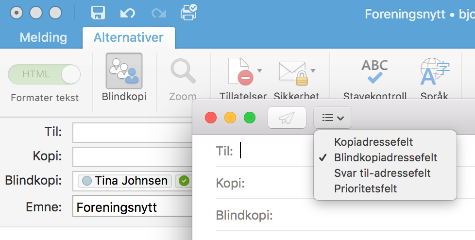 Ta frem blindkopifeltet. Her vist på Outlook for Mac og Mail-appen på Mac