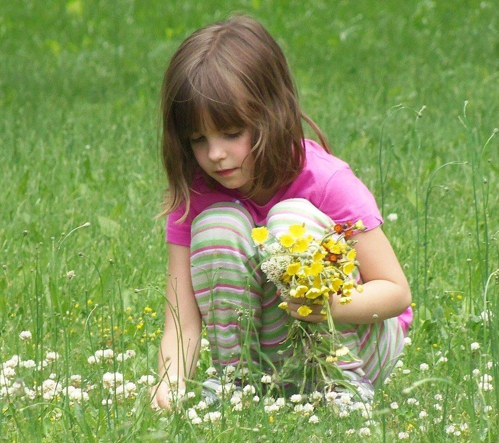 Bilde av jente som plukker blomster
