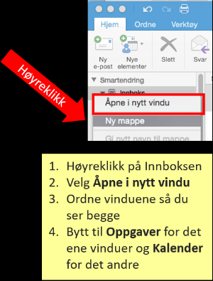 Illustrasjon for å åpne flere Outlook vinduer på Mac