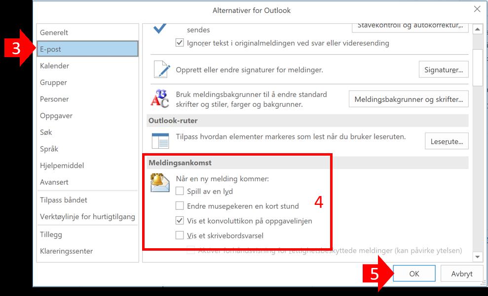 Bildet viser Outlook epostalternativer og hvordan du tar bort skrivebordsflagg