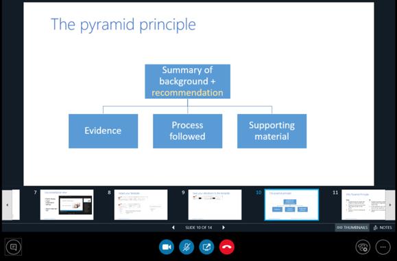 Bruk av presentasjonsvisning i Skype for business for god kontroll over presentasjonen