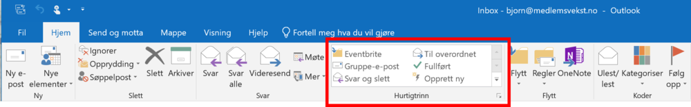 Bildet viser båndet i Outlook med markering av Hurtigtrinn