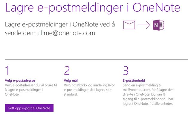 Skjermbilde av beskrivelse for å sende epost til OneNote