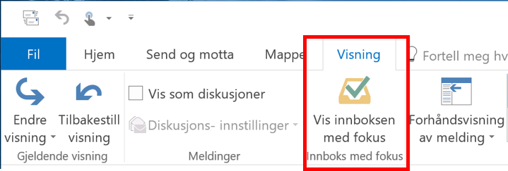 BIldet viser Outlook VISNING INNSTILLING FOR Å AKTIVERE FOKUS INNBOKS