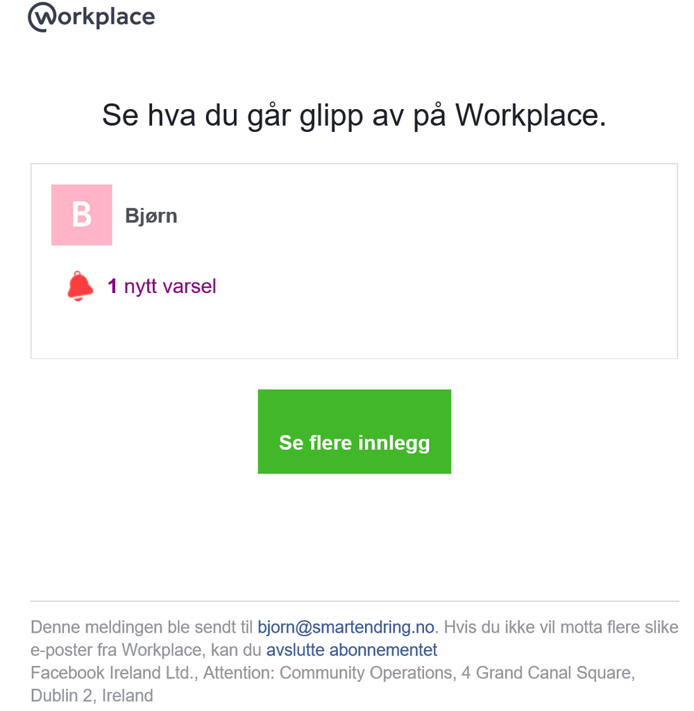 Bildet viser varsel-epost fra WOrkplace med lenke til å avslutte abonnementet