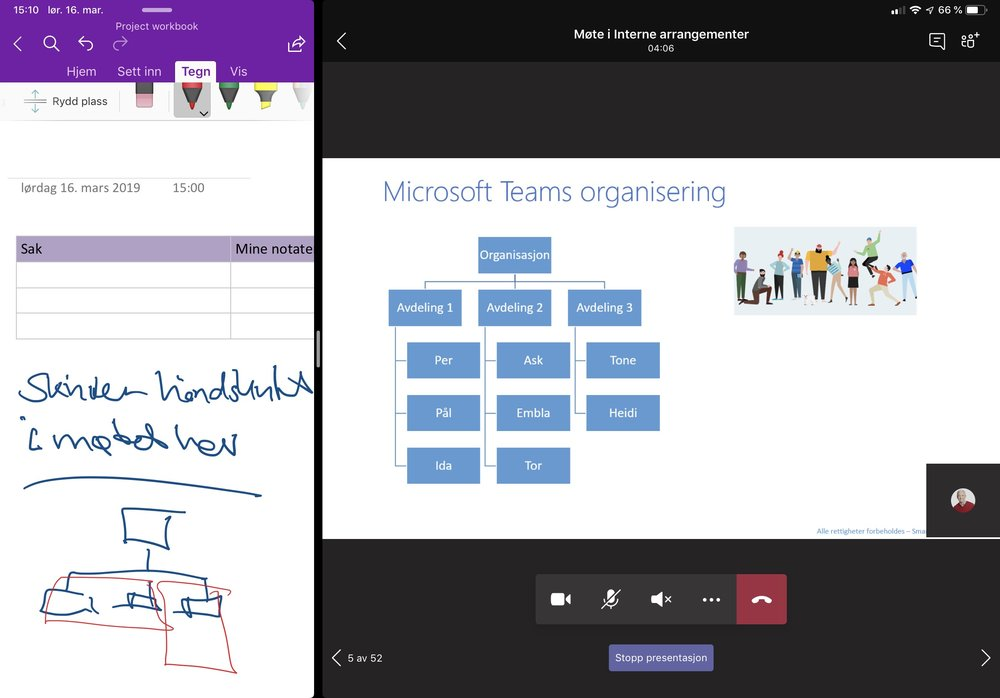 BIldet viser iPad Pro med Teamsmøte og OneNote