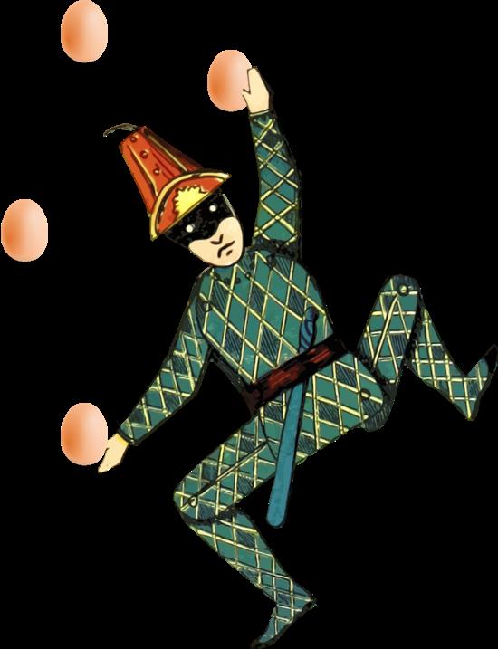 Bilde viser klovs nom sjonglerer med egg