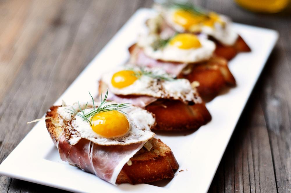 Fennel Ham & Quail Egg Bruschetta