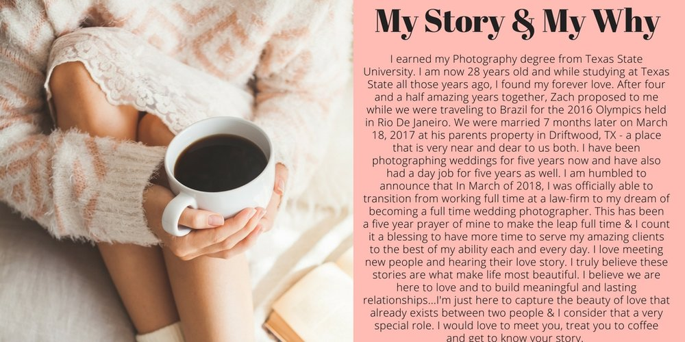 I earned my Photography degree from Texas State University. I am 28 years old and while studying at Texas State, I also found love. Zach, my now husband, proposed to me while visiting Brazil in August at the RIO .jpg
