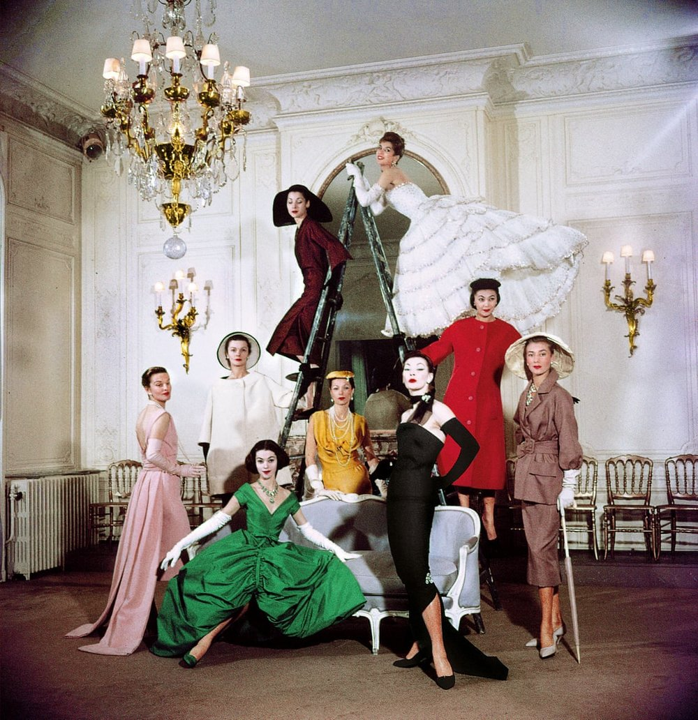 Models pose in the new Christian Dior collection at House of Dior's headquarters, Paris in 1957.  Photograph: Loomis Dean/Time Life Pictures