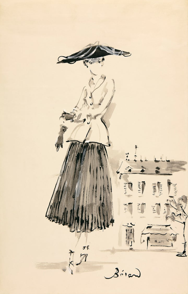 Bar suit, Spring/Summer 1947 collection, Sketch by Christian Bérad.