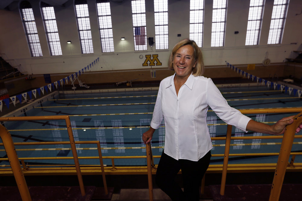 Ganley, pictured at the Cooke Hall pool, where her legendary career at the U of M began in 1973.