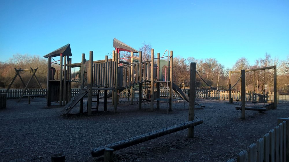 Play - Designated child friendly play area, allowing children to clamber, swing and slide themselves tired. There is also a space for younger children to play happily