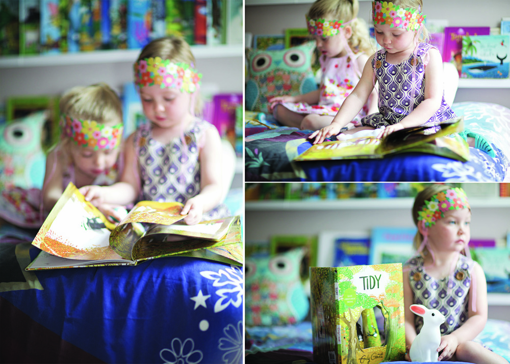 BOOK:  'TIDY' by EMILY GRAVETT £12.99  //     DRESSE  S:  £25.00    //     HEADDRESSES:  £8.99 per pack    //     BUNNY LAMP:  £6.50