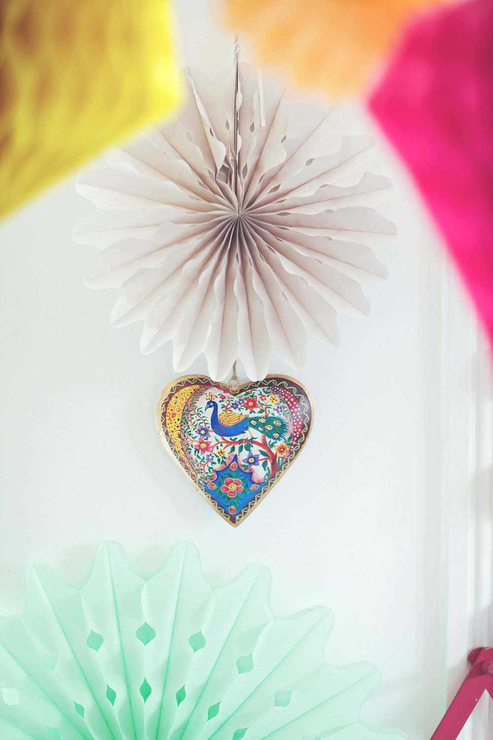Hanging Peacock Heart Decoration: £5.00