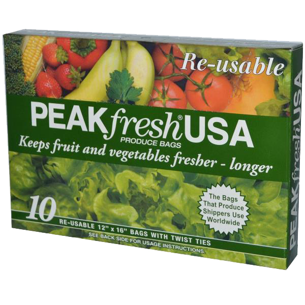 Green Produce Bags –Peak Fresh - Give Green Produce Bags a chance because they'll give your fruits and veggies new life. These certified organic bags are used by produce shippers worldwide to slow down the natural aging process of fruit and vegetables. Stuff someone's stocking with these and you're guaranteeing them longer lasting produce; how fresh is that?