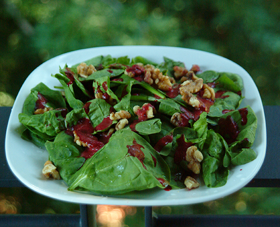 Spinach Walnut Salad with Raspberry Vinaigrette