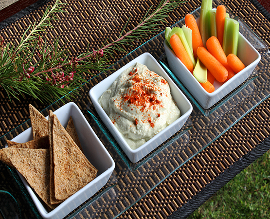 Squash Hummus with Baked Pita Chips