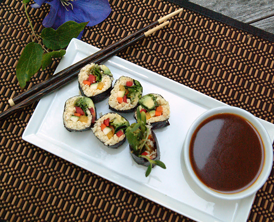 Parsnip Rice Sushi with Wasabi Ginger Dipping Sauce