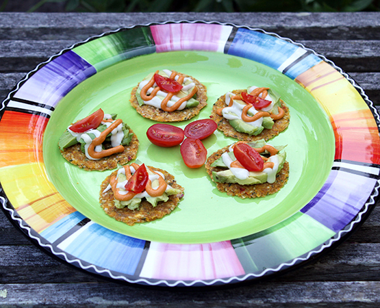 Mini Corn Pepper Hemp Tostadas