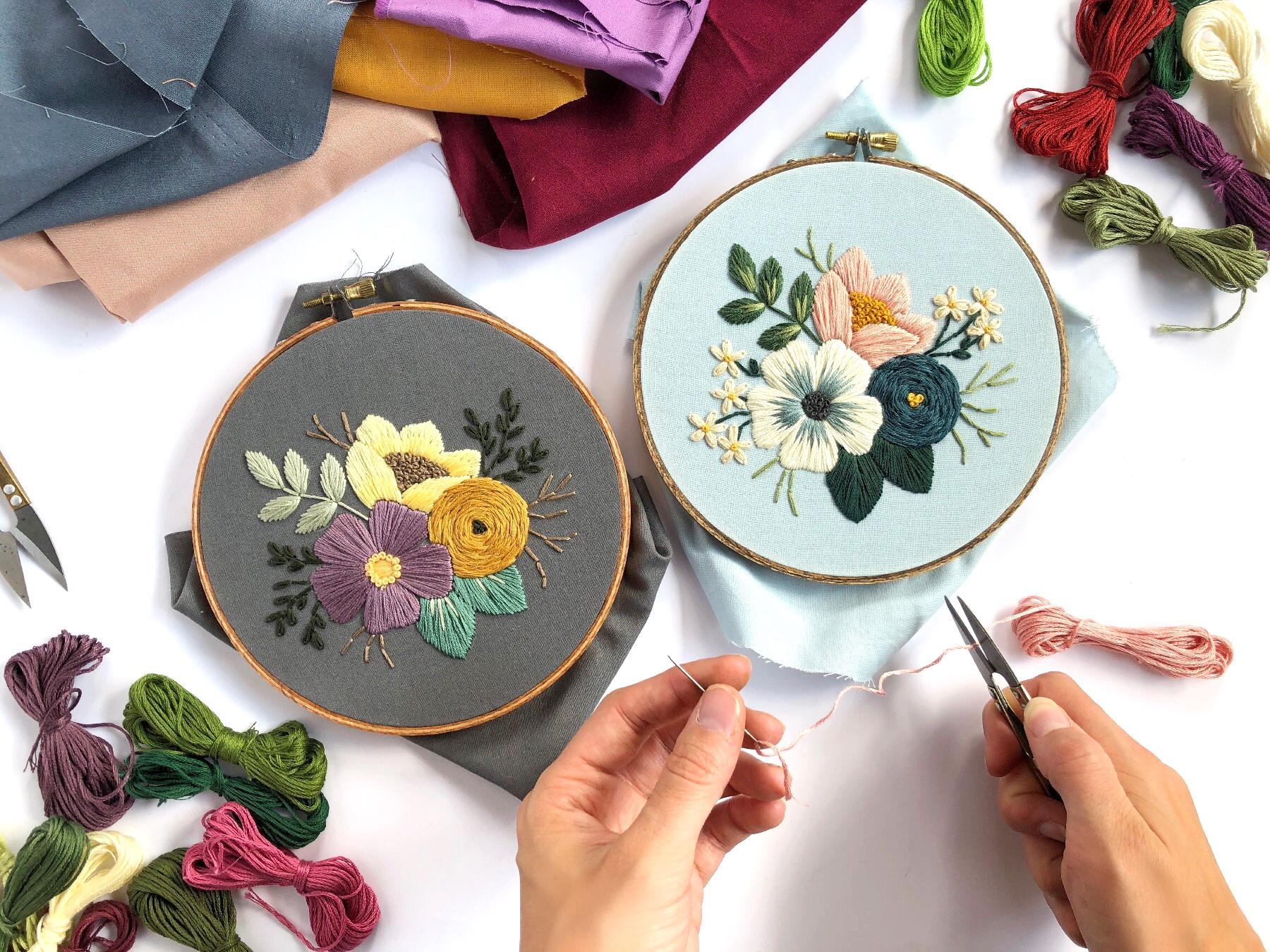 30daadc976 Beginner Embroidery - Floral Vignette in a Hoop
