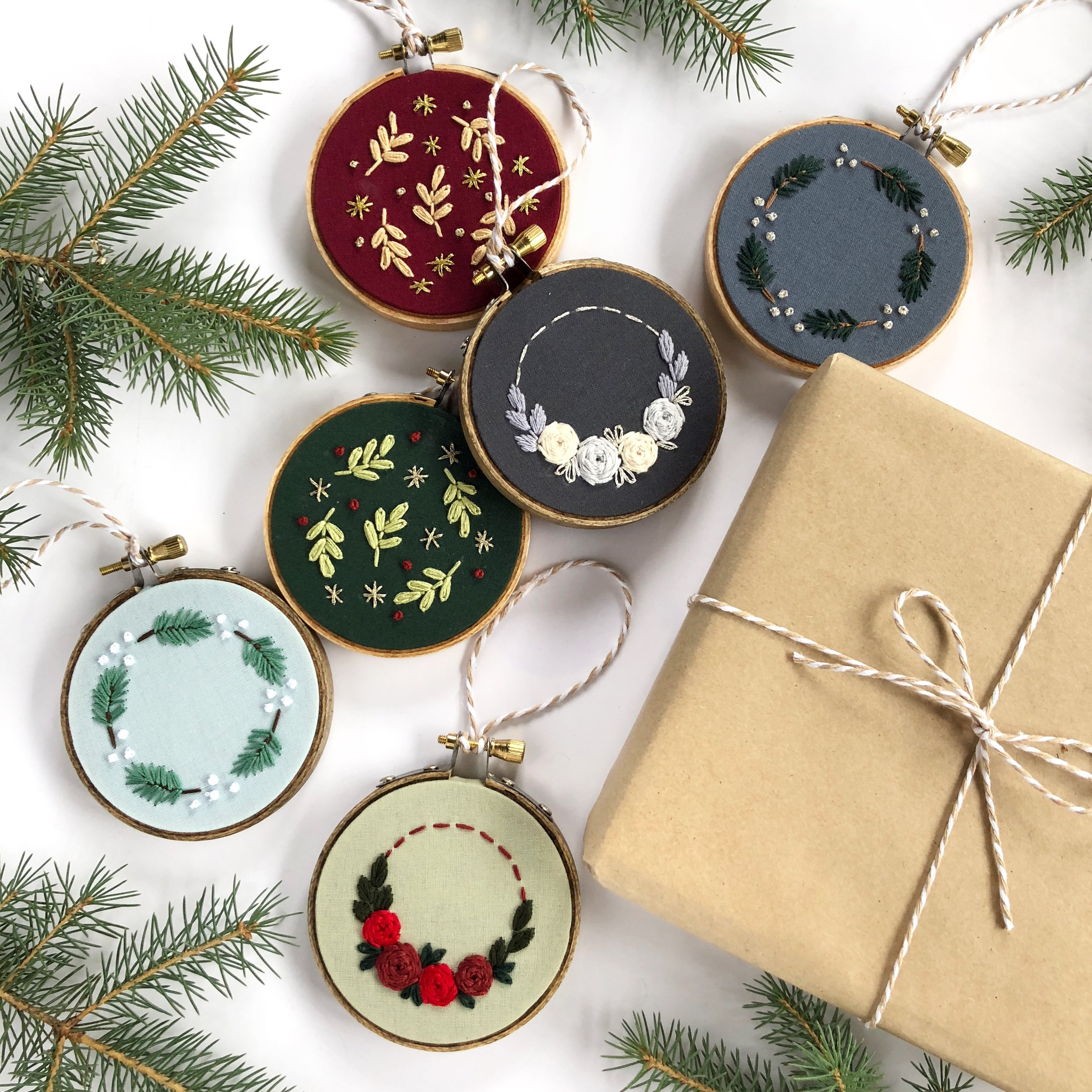 57115107f4 Beginner Embroidery - Three Christmas Ornaments