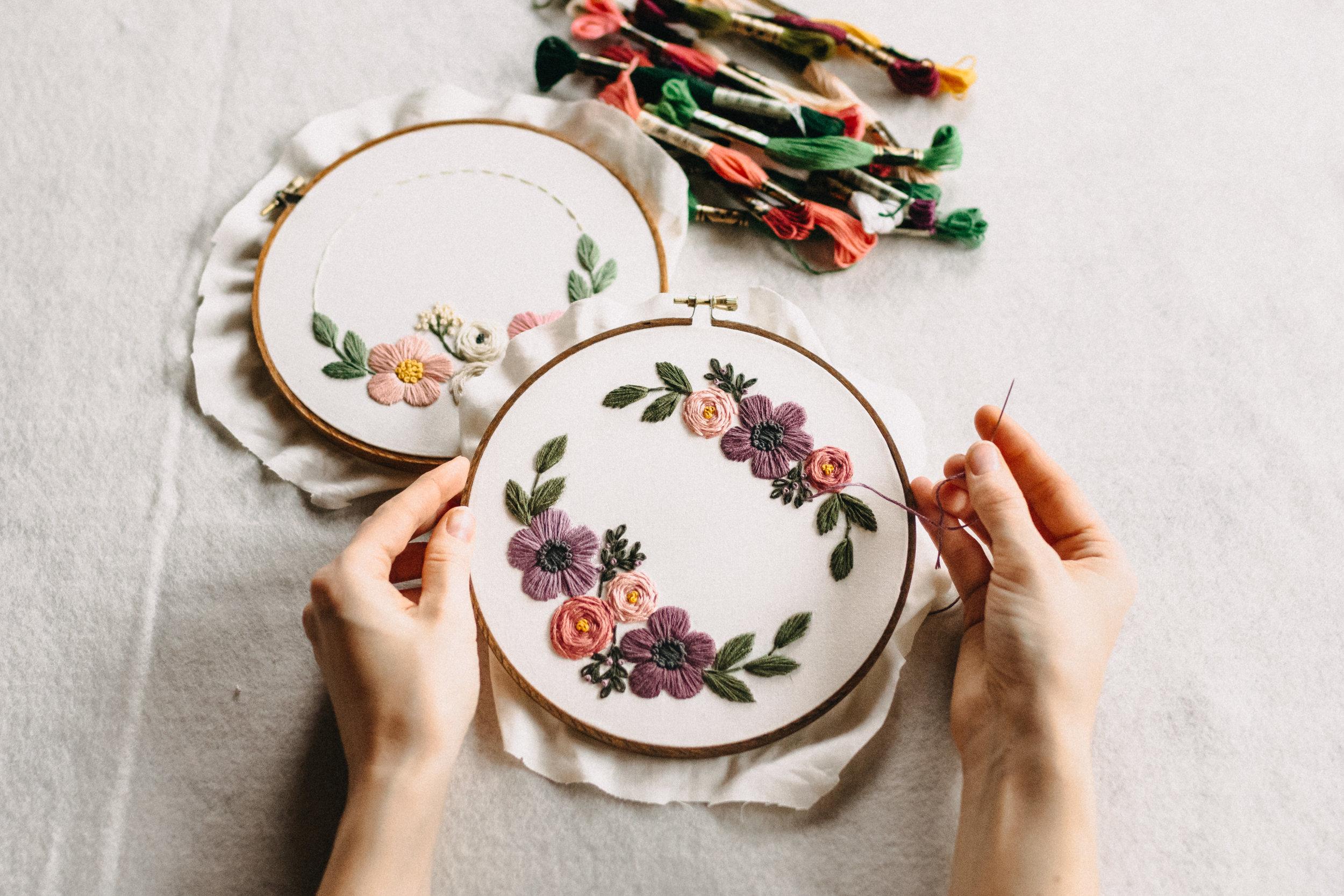 262780c920 Beginner Embroidery - Floral Vignette in Hoop