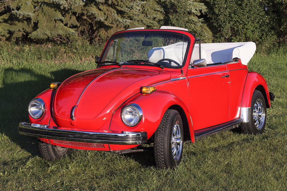 1979 Volkswagen Karmann Convertible   Sold new in Phoenix Arizona and remained there with the original owner until 2014 when brought to Lloydminster. Last year of the original Beetle. Limited number were made in Mars Red paint color. 33,000 original miles.  This car draws a lot of attention at Just Kruzin Kruz nights