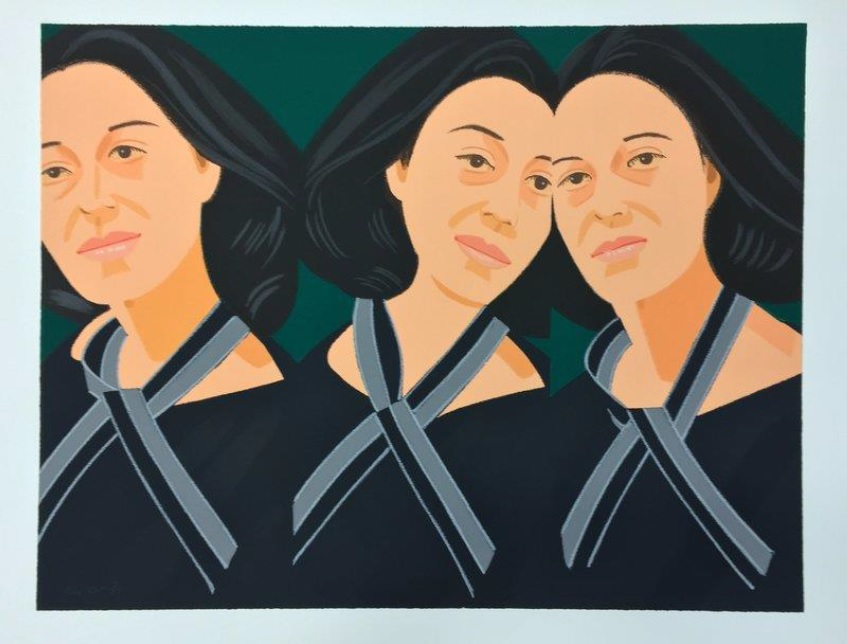 Gray Ribbon, 1990  ALEX KATZ  PRINT – Screenprint - Edition of 30    One of the artist's many portraits of striking women, Gray Ribbon is an exemplary work—in this color silkscreen print, Katz's clean lines and minimal approach to portraiture are displayed, and the solid dark background, which is typical of his compositions, offsets the model's deep brown hair, dark eyes, and curious expression.