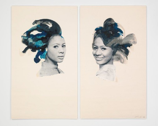 Double portrait, 2013  LORNA SIMPSON  PRINT - Silkscreen on felt panel  Lorna Simpson merges classical beauty and provocative politics. A multimedia artist best known for photography and video, Simpson explores race, gender, and African-American identity in her powerful work.