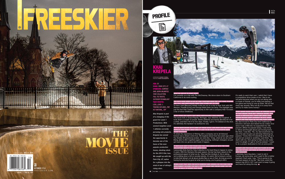 Half-Page in Freeskier Magazine Sept 2014 Issue - Print