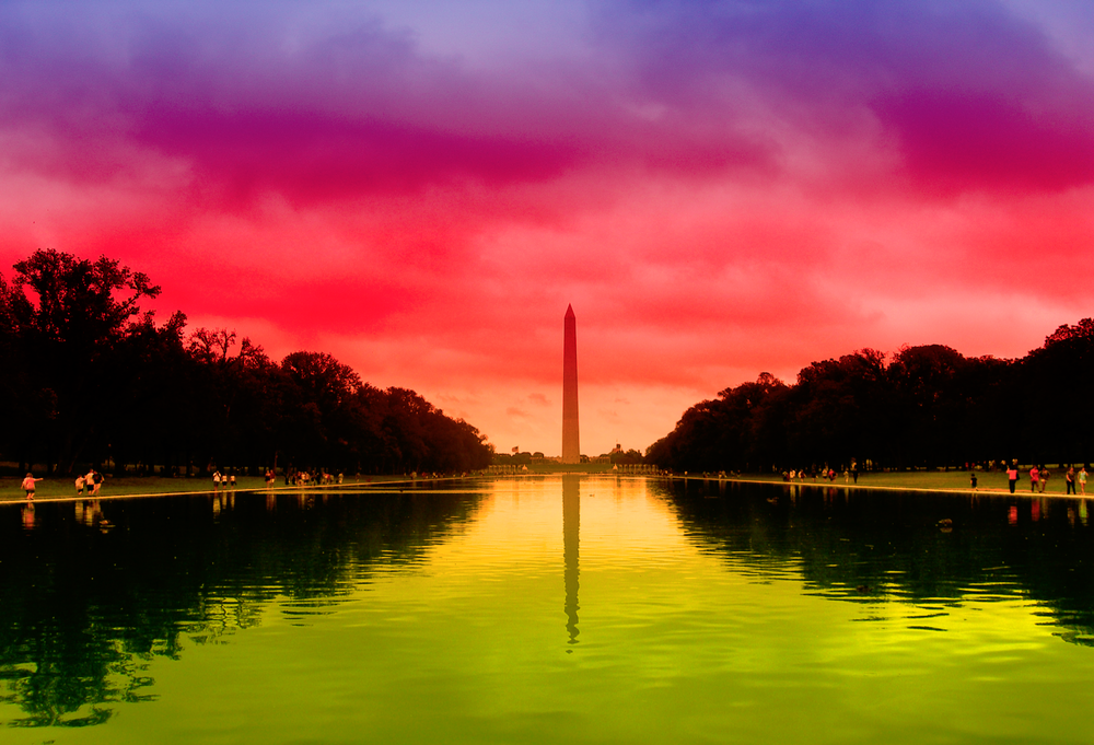 WASHINGTON MONUMENT RED DUSK