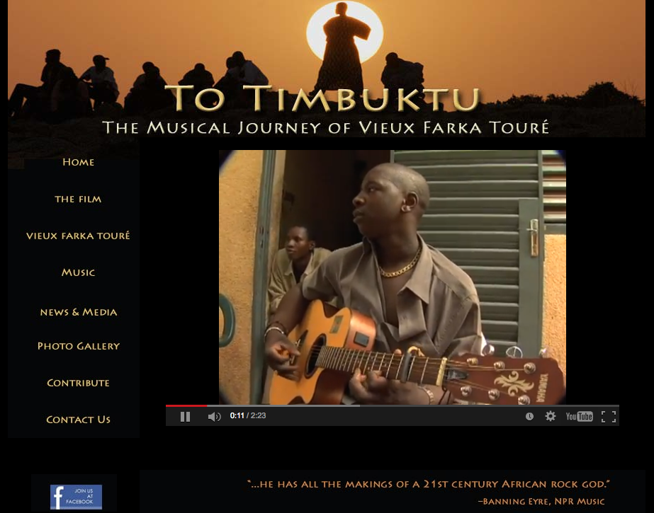To Timbuktu Documentary - Website Design