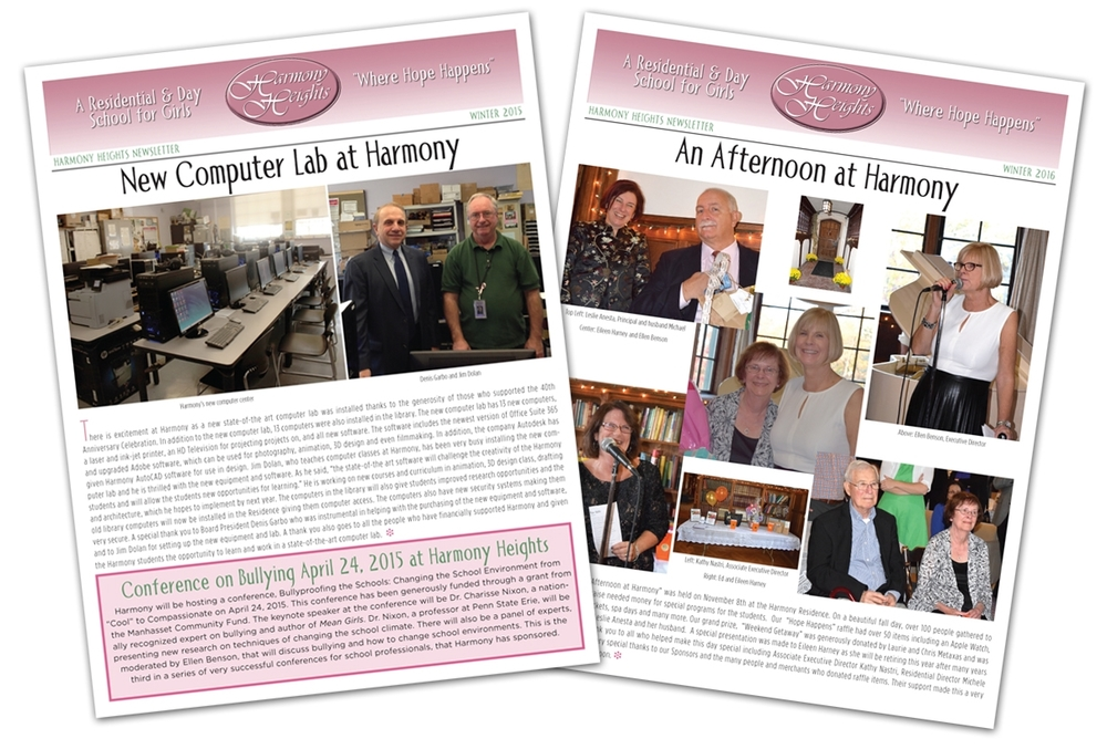 Harmony Heights - Newsletter Design
