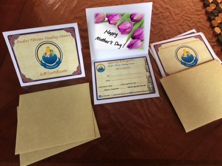 Mother's Day Special Gift Cards are Available At Dutse Tibetan Healing Center, Northampton/Conway.